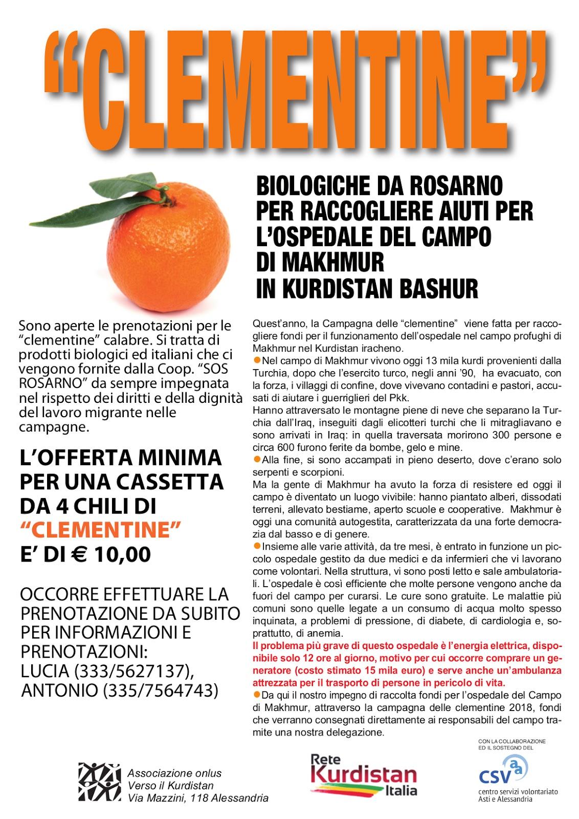 Campagna delle Clementine 2018 – Verso il Kurdistan